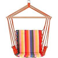 SONGMICS Hamaca con travesaño Silla colgante De colores Carga de 200kg (Rayas coloridas)