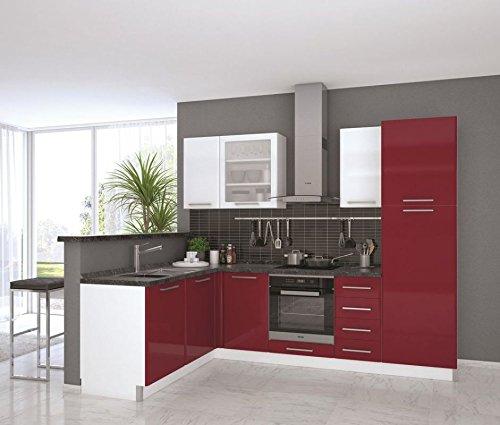 Eckküchenblock Fagali 34, 9-teilig, Farbe: Weiß Hochglanz / Bordeaux Hochglanz