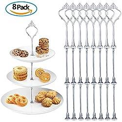 Meersee Conjunto de 8 Cake Plate Fittings 3 Estantes Soporte de Plato para Dulces o Tartas Accesorios de Placas de Pastel