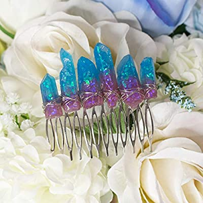 Erech haircomb, pince à cheveux avec cristaux de résine bleu et violet, base et fil de métal, accessoire de fantaisie, elfe, boho