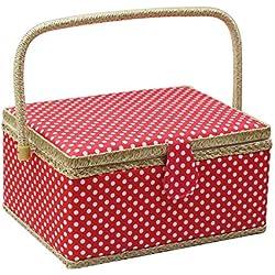 Caja de costura grande, D&D cesta de costura para el hogar, viajes, lunares Large rosso