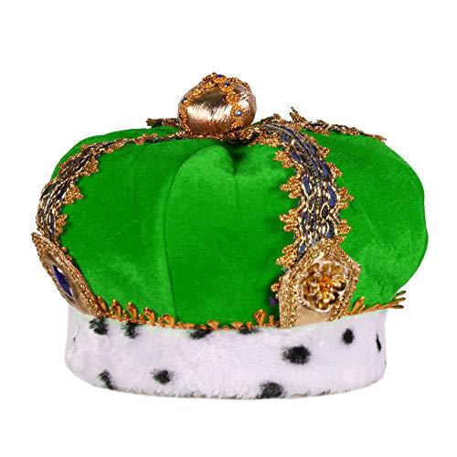 Königs-Krone aus Stoff mit Edelsteinen Partyhut Spaßhut Kopfbedeckung Hochwertiges Kostüm-Zubehör Party-Accessoire Karneval Fasching Fastnacht Mottopartys Einheitsgröße Grün -