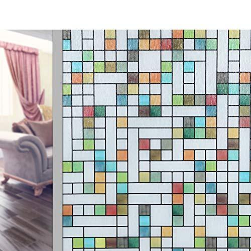 QTQHOME Glas Türen und Fenster Window Sticker,Statische elektrizität Non-Viskose 3D Farbe Gitter Privatsphäre Dekoration Fensterfolien Frosted Fenster Abdeckung-A 80x200cm(31x79inch) -