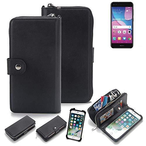 K-S-Trade 2in1 Handyhülle für Huawei Y6 Pro 2017 Dual SIM Schutzhülle & Portemonnee Schutzhülle Tasche Handytasche Case Etui Geldbörse Wallet Bookstyle Hülle schwarz (1x)