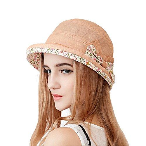 Femmes Mode Été Extérieur Décoration Bowknot De Sertissage Anti-Uv Chapeau De Soleil Chapeau De Seau Orange