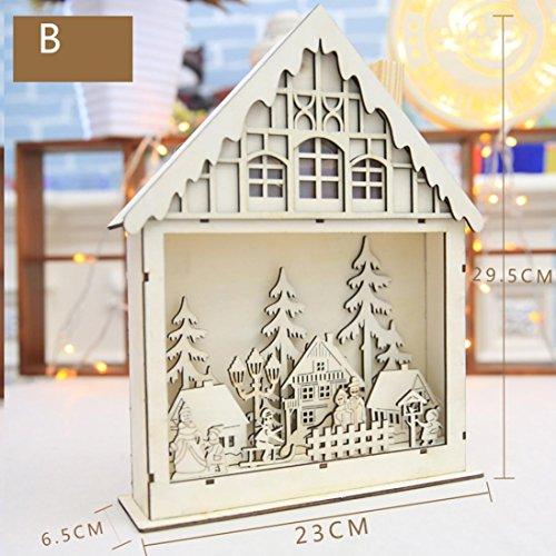 mamum Weihnachten Geschenk LED Magic Luminous Cabins Holz hell Ornaments LED-Lampe Schreibtisch Wand Lampe Vintagelook book-shaped Schreibtisch Lampe, holz, B, Einheitsgröße