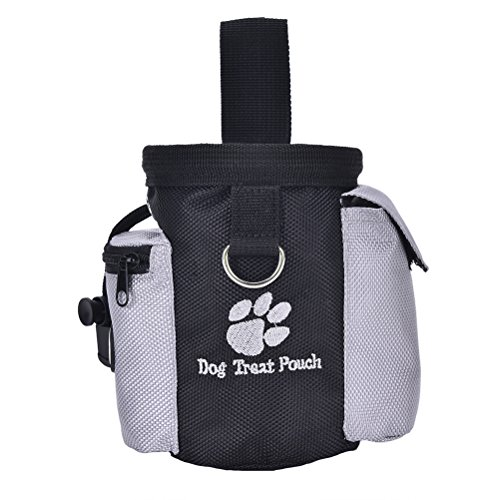 Eshylala Dog Treat Pouch,Training Bag with Poop Bag Dispenser,Waist Clip and Drawstring.Carries Treats and Toys