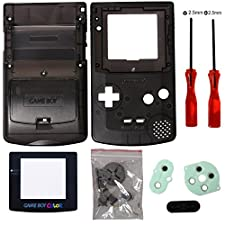 Timorn Full Housing Shell Case Cover Replacement for GBC Gameboy Color (Transparent Black)