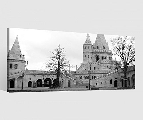 Leinwand 1 Tlg schwarz weiß Paris Schloss Burg Bilder Wandbild aufgespannt 9C251Holz - fertig gerahmt - direkt vom Hersteller, 1 Tlg BxH:80x40cm - Leinwand Burg