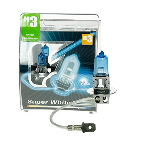 ECD Germany 2er Pack Halogen Lampe H3 12V 55W 8500K 50% mehr Licht Super White mit E-Prüfzeichen Xenon Optik Glühbirne Glühlampe Scheinwerferlampe Autolampe