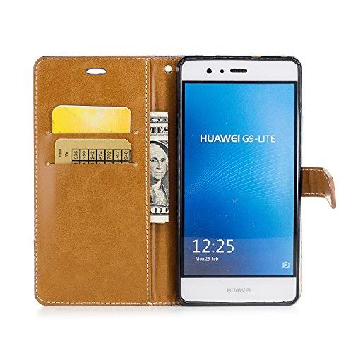 Custodia per Huawei P9 Lite, ISAKEN Flip Cover per Huawei P9 Lite con Strap, Elegante Bookstyle Contrasto Collare PU Pelle Case Cover Protettiva Flip Portafoglio Custodia Protezione Caso con Supporto  Marrone+nero