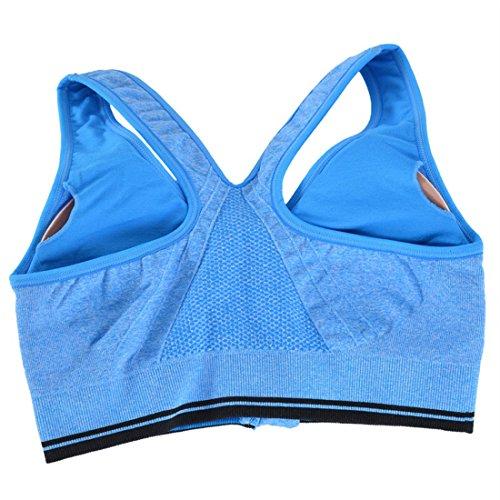 Encounter Sexy Soutien-gorge de Sport Push up Zip Devant Antichoc Bra Sans Armature pour Fitness Yoga Course bleu ciel