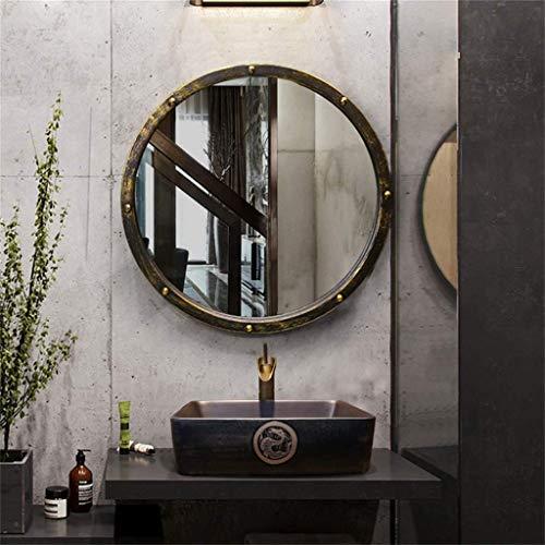 Retro redondo colgante de pared Espejo Baño Embellecimiento Inicio Remache Decoración Espejo Metal...