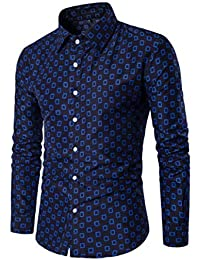 BUSIM Men's Long Sleeved Shirt New Autumn Classic Plaid Local Print Slim T-Shirt Button Top Trend Fashion Personality...