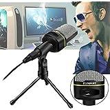 Micrófono de Condensador, ELEGIANT SF-920 Micrófono USB Profesional 3,5mm para MSN Skype Canto para PC Portátil + Trípode Negro