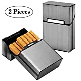 UBEGOOD Aluminium Zigarettenetuis, 2 Stück Zigarettenboxen mit Magnetverschluss Metall Elegante Entwurf Aluminium Zigaretten Kasten Zigarettencase Zigarettenhülle (Silber grey)