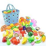 YVSoo 42er Set Küchenspielzeug Obst Gemüse Schneiden Lebensmittel Spielzeug Einkaufskorb Lernenspielzeug Rollenspiele Kinder (C)