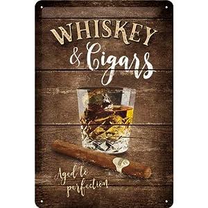 Nostalgic-Art 22257 Open Bar - Whiskey | Retro Blechschild | Vintage-Schild | Wand-Dekoration | Metall | 20x30 cm