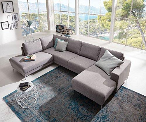 DELIFE Couch Silas Grau 300x200 cm Ottomane Links Designer Wohnlandschaft