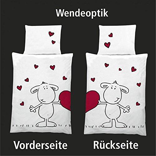 Dreamtex Wende Bettwäsche Mikrofaser Schäfchen Partner Herzen Love mit RV, 2-teilig
