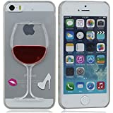 Schwer tasche schutzhülle Case Cover Hülle für iPhone 5 5S 5G Fließend Dark Red Imitation Wein in Becher Serie Machen von Hoch Klar Transparent PC