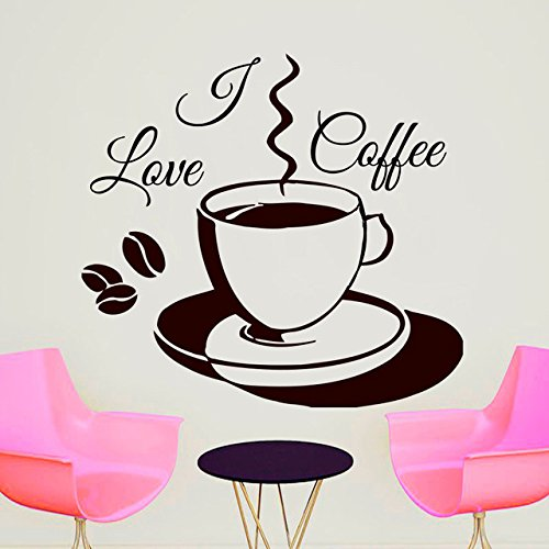 59x62cm Hot Fashioable I Love Coffee Cup Wall Sticker Vinyl Decoration DIY Remotable Art Wall Decal -You Choose Color Renaissance-baby Cup