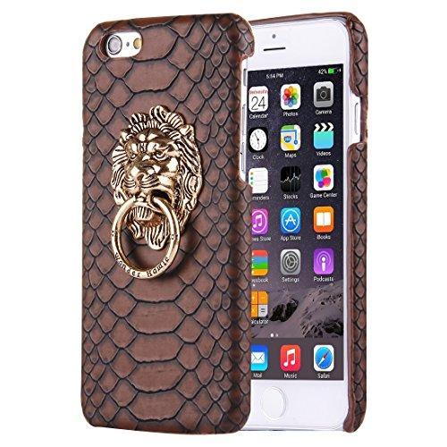 Wkae Case Cover Für iPhone 6 Plus &6s Plus-Snakeskin Texture Paste Haut PC-Schutzhülle mit Löwe Kopfhalter ( Color : Coffee ) Coffee