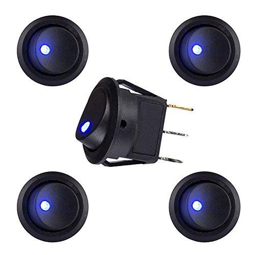 Hrph 5Pcs / 10Pcs Toggles 20A 12V runder Rocker Kippschalter Blaue LED SPST ON / OFF Schalter Neu (Pole-licht-schalter)