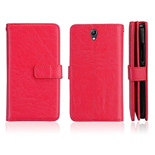 BONROY Hülle Karten-Fach 360°Book Klapp-Hülle Handytasche Kunst-Leder Handyhülle für Lenovo Vibe S1 (5 Zoll) Case Flip Cover Schutzhülle Tasche-(Dikas-9 Karte rot)