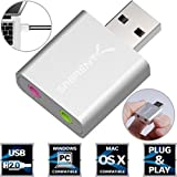 Sabrent Aluminum USB External Stereo Sound Adapter for Windows and Mac. Plug and play No drivers Needed. (AU-EMAC) immagine