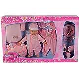 Simba Puppen Set Baby Collection Puppe Zubehör Trinkflasche Strampler Wickeltasche NEU, Farbe:Rosa