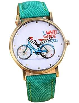 Fashion Casual Frauen Mädchen Studenten Bike Uhren Vintage Armbanduhr Quarz Uhr Grün