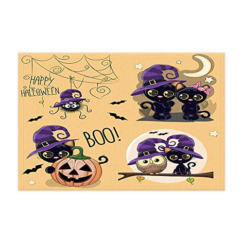 GzHQ Halloween Ghost Pumpkin Bad Teppiche Cartoon Eule Schwarze Katze und Spinne in Vintage Duschmatte 15.7X23.6in Fußmatte für Home Decor Badezimmer Boden Teppich
