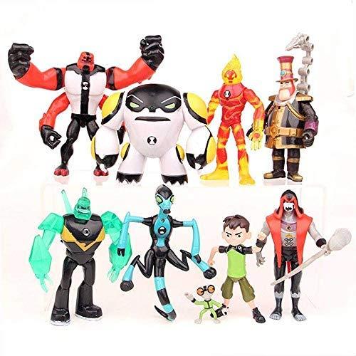 LoneFox Ensemble de 9 Ben 10: Ultimate Alien Figurines Jouets PVC modèle poupée Collections Jouets Ensembles 3-12 CM
