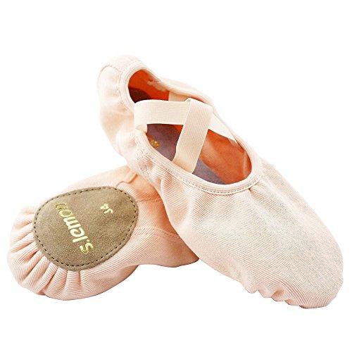 s.lemon elástico Lona Zapatillas de Baile Ballet para niños niñas Mujeres Hombres Rosa (34 UE)