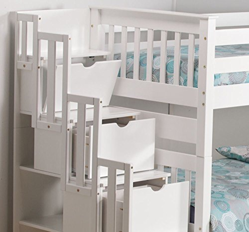 Happy Beds Mission White Wooden Staircase Storage Bunk Bed Furniture Bedroom with 2 Deluxe Memory Foam Mattresses 3' Single 90 x 190 cm