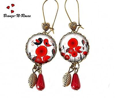 Boucles d'oreilles Oiseaux amoureux cabochon rouge coquelicots bijou saint Valentin cadeau