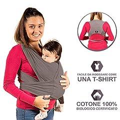 Idea Regalo - New 2020 - KALPAS - Fascia Porta Bambino Facile Da Indossare (Easy On), Taglia Unica Unisex   Marsupio Neonati Multiuso   Fascia Porta Bebe Elastica Baby Wrap Carrier Band - Grigio Antracite -