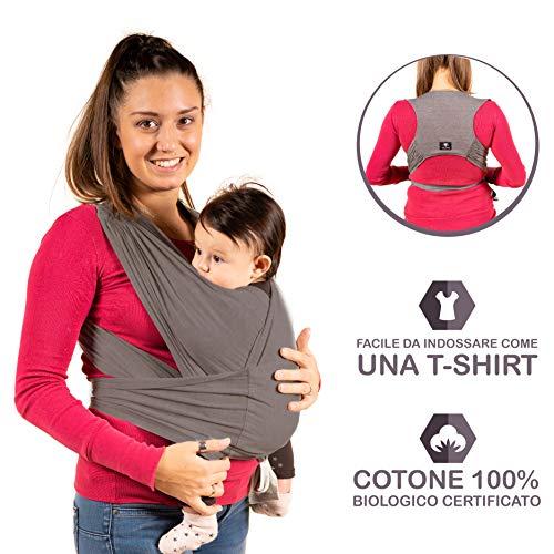 New 2020 - KALPAS - Fascia Porta Bambino Facile Da Indossare (Easy On), Taglia Unica Unisex | Marsupio Neonati Multiuso | Fascia Porta Bebe Elastica Baby Wrap Carrier Band - Grigio Antracite -