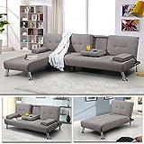 Schlafsofa Oxford Ecksofa Lounge Sofa Stoffsofa Wohnlandschaft (Grau)
