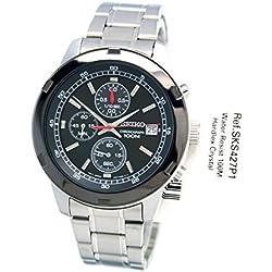 Seiko - SSB427P1 - Men's Quartz Chronograph Watch - Black Dial - Grey Steel Strap