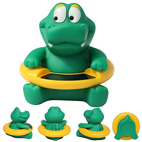Baby Badethermometer, Karikatur Digital Wasser Thermometer, Anti-Heißer Elektronischer Thermometer, Schwimmende Badespielzeug für Kleinkinder (Grün-Krokodil)