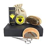 Oshide Bartpflege Set 100% natürlich 6-teiliges Bartwachs +Bartöl + Bartbürste + Bartkamm + Kulturbeutel für Männer, bestes Geschenk für den Mens