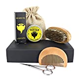 kit de corte de barba para hombre set de regalo - cepillo de barba, peine de barba, aceite de...