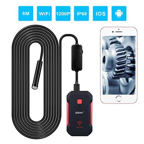 ERAY Inspektionskamera WiFi 5M, IP68 Wasserdicht/1200P HD/2MP/8 LEDs/8mm/Semi-Rigid Boreskopkamera, Drahtlose Endoskopkamera für Auto, Haus und Arbeit, Kompatibel mit Android, iOS, Windows und Mac