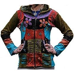 Shopoholic Moda Mujer Flor Bordado Patchwork Puntiagudo Costillas Sudadera Con Capucha - Multicolor, Grande
