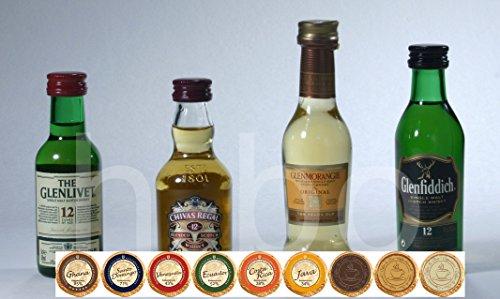 Exklusives Set prämierte Whisky Miniaturen mit 9 DreiMeister Edel Schokoladen in 9 Variationen, kostenloser Versand
