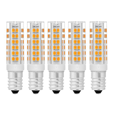 Preisvergleich Produktbild (Packung mit 5) 7W E14 Warmweiß LED-Glühlampen,  75 SMD 2835 Lampe,  400 - 430 lm,  2700K - 3200K,  Nicht Dimmbar,  Keramikstruktur