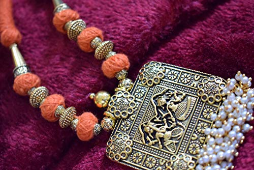 Shreevari Exclusive Gold Plated Traditional Kathyawadi Necklace Set/Jewellery Set with Earrings for Girls and Women (SV1055)
