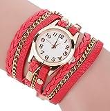 Toruiwa Damen Armbanduhren Retro Böhmischer Stil Wickelarmbanduhr Geflochten Uhren aus PU Leder Armreif Uhr für Herren Damen Jungen Mädchen (Rot)
